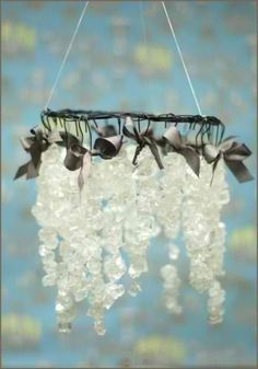 1st Communion Party Idea -  DIY Rock Candy Chandelier to hang over dessert (or buffet) table. Easy instructions.