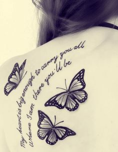 Black and White Butterfly Tattoo With Quote