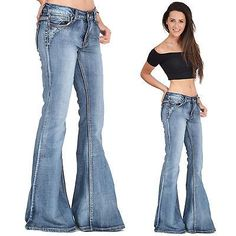 60s 70s Vintage Wash Flares Faded Bell-Bottom Wide Flared Jeans - Blue