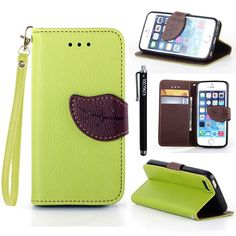 iPhone 5s Case iPhone 5 Case KINGCOOL(TM) Cute Tree Leaf Design Magnetic Flip Stand Leather Wallet Case Cover with Free Stylus for Apple iPhone 5/5s(Green) Specially designed for Apple iPhone 5/5s Made of high quality PU leather material+magnetic flip design Includes slots to store your credit cards / business cards Provides protection and prevents scratches and dirt from accumulating Full access to all functions