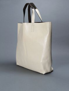 dries van noten : bag shopper white leather