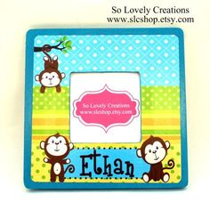 Monkey Picture Frame - Made to match Ethanl Personalized Blocks. $15.00, via Etsy.