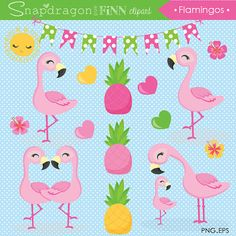 Digital Clipart & Papers by snapdragonandfinn Flamingo Png, Pink Flamingos, Flamingo Birthday, Flamingo Party, Baby Shower Deco, Doodles, Free Planner, Hibiscus Flowers, Clipart