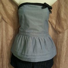 Denim ruffled crop top Cute light weight denim top with dark blue denim accent bow and strip around the top. 3 rows of ruffles also elastic throughout the back for comfort and a better fit. US Polo Association Tops Crop Tops