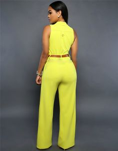 Summer Jumpsuit Monos Mujer Largos 2016 Plus Size Romper Casual Belted Wide Leg Casual Belt, Plus Size Romper, Yellow Belt, Chic Couture Online, Hooded Dress, Jumpsuit Dress, Summer Jumpsuit, Dress Picture, Fashion Clothes
