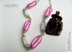Ожерелье из плетёных бусин с основой белой проволоки «Розовое летнее утро». Общая длина около 50см. Цена 90,0 грн.