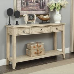 This stately Chadwick Summerville Console Table is a stylish option for your den, foyer or sunroom. This gorgeous wood piece in cream, features 3 upper drawers for your papers, cards and keys, and a full lower shelf for books and more. Silver Furniture, Accent Furniture, Living Room Furniture, Distressed Furniture, Sofa Table Decor, Table Decorations, Christmas Decorations, Dining Table, Interior Storm Windows