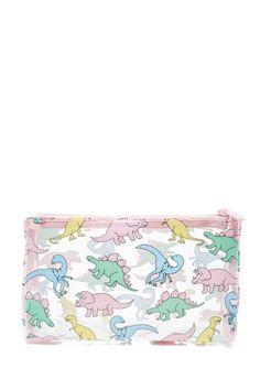 A clear makeup bag featuring an assorted dinosaur print, a top zipper closure, and contrast trim.