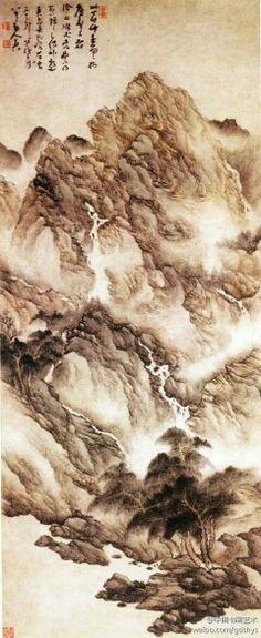 """【 清 法若真《树梢飞泉图》】 此图画面写""""山中一夜雨,树杪百重泉""""的山林景色。近处坡阜杂树盘郁,高处山壁峭立,崦崖陡起,山间白云缭绕,山坳中多处飞泉,奔流下注,仿佛有声。石骨用硬笔勾勒,多次皴染,既充分表现出嶙峋的石质,又描绘出山石雨后浑厚苍润的气息。"""