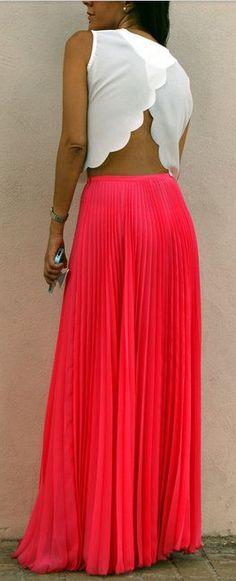 Maxi skirt + open back.
