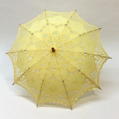 Cotton and Lace Parasol - Yellow Princess Daisy Costume, Its Raining Its Pouring, Stop The Rain, Lace Parasol, Low Budget Wedding, Yellow Umbrella, Wedding Wishes, Rock Style, Beige Color