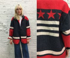 red white and blue american flag wool coat / the Limited oversize chunky wool jacket by dustyrosevintage on Etsy