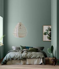 Decorating with Modern Earthy Home Decor - Home Decor Design Bedroom Green, Bedroom Colors, Home Bedroom, Bedroom Wall, Bedroom Decor, Bed Room, Bedroom Ideas, Earthy Home Decor, Blue Bedding