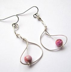 Funky Modern Silver Pink Jasper Earrings by DistortedEarth