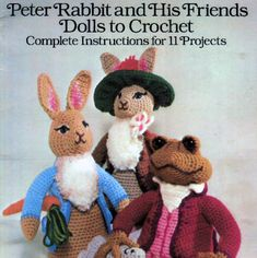INSTANT DOWNLOAD PDF Peter Rabbit and Friends  Crochet classic cuddly toys. Great gifts!  A fantastic pattern to make 11 Beatrix Potter animals Peter Rabbit Mrs Rabbit Benjamin Bunny Mopsy Old Mr Benjamin Bunny Squirrel Nutkin Ribby Simpkin Hunca Munca Lady Mouse Mr Jeremy Fisher    Finished sizes vary - Peter Rabbit is 10.5 inches tall Worsted weight or Double Knitting yarn - other yarn weights could be used to make smaller or larger toys  Great for story telling!   This vintage 1970s US…