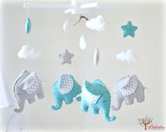 Elephant baby mobile crib mobile swan blue and di LullabyMobiles