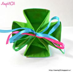 How to sew an unusual gift-basket bag of fabric. Tutorial.