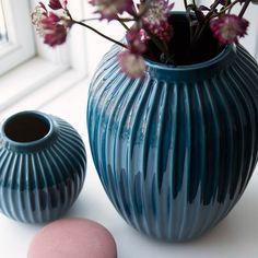 Blauwe keramiek Hammershøi vaas van Kahler