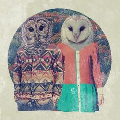 Oh my word, two of my favorite things in the whole world! Owls AND animal heads!!!