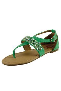 EMBELLISHED FAUX SUEDE SANDALS-Emerald