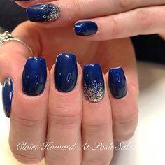 Navy And Silver Nails, Cobalt Blue Nails, Blue Gel Nails, Navy Nails, Cute Nail Art Designs, Acrylic Nail Designs, Acrylic Nails, Prom Nails, Fun Nails