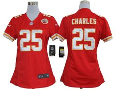 Nike Chiefs #25 Jamaal Charles Red Team Color Womens NFL Game Jersey