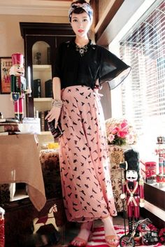 Animal Print High Waist Wide Leg Loose Chiffon Trousers on BuyTrends.com, only price $12.63