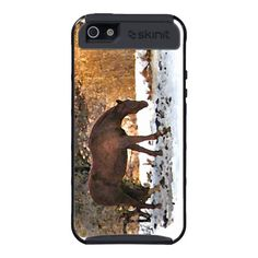 Horse in Winter iPhone 5 Case ~ This Skinit iPhone 5 case features a winter scene. A lovely golden brown horse is browsing for fallen apples under the white snow, against a backdrop of bare yellow, gold and orange hills.