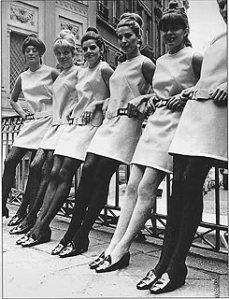 Miniskirt fashion in the 60s. The mini was invented by the fashion designer Mary Quant.