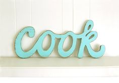 wooden kitchen sign COOK vintage style cottage by OldNewAgain, $58.00