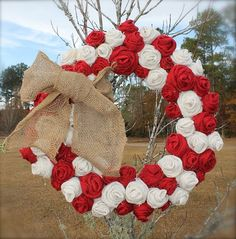 Red and White Primitive Burlap Roses Wreath for by tinkerscottage, $65.00