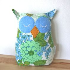 owl pillow - vintage floral fabric softie - the original bonne nuit owl - handmade and one of a kind, by Alex LeJeune