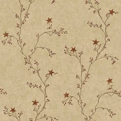 Rustic Wallpaper for Walls | Tan Maroon CT1946CB Star Berry Vine Wallpaper is prepasted and has 10 ...
