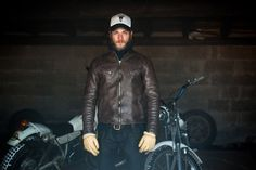 Edwin x Blitz Motorcycles - S.B Motorcycle Jacket Rugged Style, Blitz Motorcycles, Italian Leather Jackets, Edwin Jeans, Vintage Cafe Racer, Awesome Beards, Biker Style, Hair And Beard Styles, Clothes Horse
