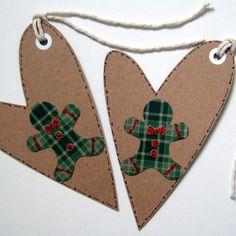 Christmas Gift Tags,Gingerbread Man Heart Christmas Gift Tags Handmade £2.25
