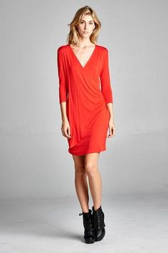 3670f2b31b5 Faux Wrap Dress. Angel Wings - San Clemente Boutique