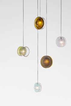 Glass waste #recycled and used to make these beautiful hanging lights | BottleUp-DDW-16