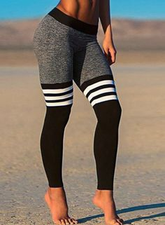 The ankle leggings are made from 90% polyester and 10% spandex with elastic waist, skinny fit, stripe pattern and color block. Don't let this baby slip away before your eyes.
