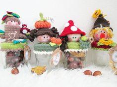 NOT a free pattern. Crochet Cup Cozy, Crochet Fall, Halloween Crochet, Knit Crochet, Crochet Gifts, Crochet Toys, Knifty Knitter, Knitting, Crochet Jar Covers