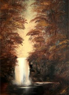 Bob Ross Tribute Oil Painting Sepia Waterfall by SFX  -  by Silvia Hartmann  ----