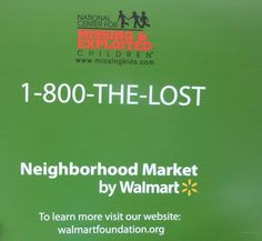 Photo to be used in next article.  Wal-Mart helping find Missing and exploited Children