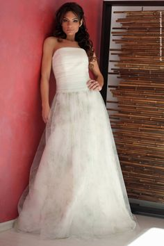 abito da sposa a bustier in tulle e organza, mod. Anita