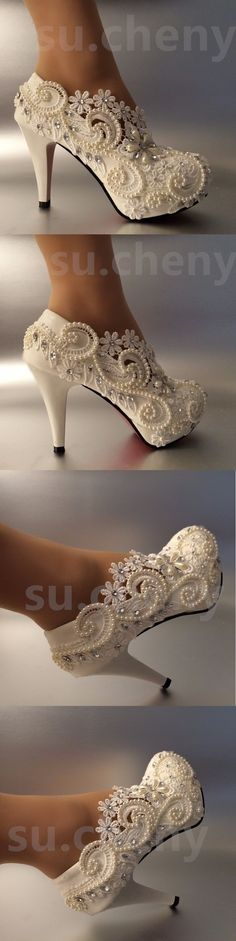 Wedding Shoes And Bridal Shoes: 3 4 Heel White Ivory Lace Crystal Pearls Wedding Shoes Pumps Bride Size 5-10 BUY IT NOW ONLY: $36.99