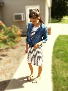 Modest Teen Fashion Autumn Fashion  Jean blouse Stripe dress