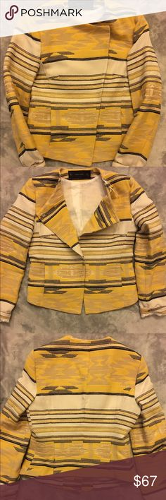 Zara yellow Aztec blazer Perfect condition, worn once!! So sad this blazer is too small for me...on a mission to find the next size up!! This adorable and stylish blazer needs a loving new home Smoke free home. Zara Jackets & Coats Blazers