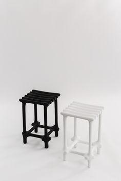 Basic Stool in black and white Dimensions: 35x35x48cm, 2017 Studio ilio