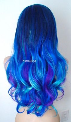 Durable heat friendly wig for everyday wear or Cosplay Wavy Hairstyles Blue Cosplay Durable everyday friendly Front Galaxy heat Lace ombre Wear Wig Blue Wig, Ombre Hair Color, Cool Hair Color, Purple Hair, Purple Teal, Blue Ombre Wig, Hair Colors, Blue Lace Front Wig, Lace Front Wigs