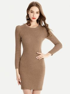 1adf3214fa1 Vinfemass Solid Color Basic Style Sweater Dress