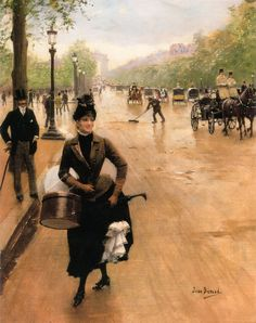 Jean Beraud - The Milliner on the Champs Elyses, oil on canvas, 45.1 x 34.9 cm