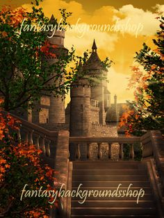 """""""Castle in the autumn morning"""" backgrounds are high resolution JPEG files, size 3000x4000 pixels, 300 dpi."""